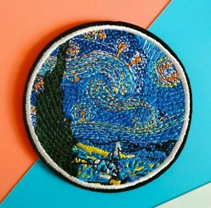 Van Gogh Starry Night Artwork 🌌 Round Iron Sew on Patch Patches Embroidery Gift