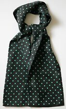 """Charcoal grey & turquoise spotted silk cravat 47"""" X 6"""" Hand made"""