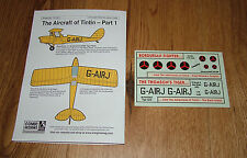 1/72 scale AIRCRAFT OF TINTIN DECAL SHEET PART 1 FROM BLUE RIDER (Sheet CD-001)