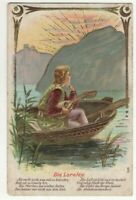 Die Loreley Germany Vintage Embossed Greetings Postcard  US131