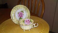 Vintage  LM Royal Halsey Pink  Rose Yellow Lusterware tri-footed Teacup & Saucer