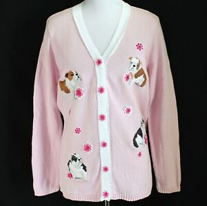 Storybook Knit Puppy Dog Cardigan Sweater Womens L Pink Embellished Long Sleeve