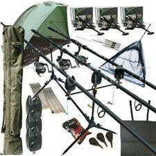 Mega Carp Fishing Set Up Kit Rods Reels Rigs Alarms Tackle Tools Mat Bivvy
