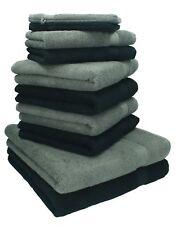 Betz lot de 10 serviettes Premium gris anthracite & noir, serviettes + gants