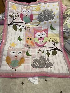 Heseam Baby Girl Pink/Grey Sweeties Owl 5 Piece Crib Bedding Set new