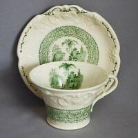 Antique Vtg GEORGE JONES & SONS MARLBOROUGH GENOA GREEN CUP & SAUCER England