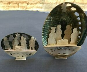 2 Handmade vintage Abalone Shell Mother of Pearl Nativity Scene, Holy Land