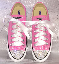 Customised Pink Crystal Bling Converse All Star Lo Made With SWAROVSKI ELEMENTS