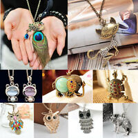 Vintage Womens Animal Theme Crystal Pendant Chain Necklace Fashion Funny Jewelry