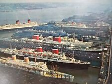 Port Of New York City Postcard Queen Elizabeth Ship Boats P1B