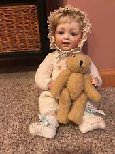 """Adorable 13"""" Blonde German Bisque Head Antique Kestner Baby Infant Doll 211 Nr"""