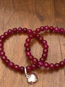 "Stunning Fushia Agate & Silver Heart Charm set of Two Elastic Bracelets 7.5"" BN"