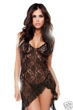 Asymmetrical Lace Dress & G-string Irresistible black lace scalloped one size