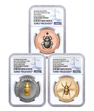 Set of 3 2017 Cook Isl HR Scarab Beetle 1 oz Silver Gilt NGC PF69 UC ER SKU48053