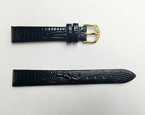 NEW QUALITY Authentic Genuine Leather Black Brown Wrist Watch Band Strap 14mm
