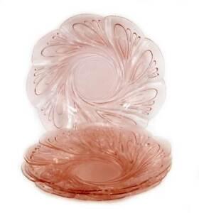 Vintage set of 4 pretty pink glass plates