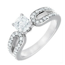 GIA Certified Cushion and Round Cut Diamond Engagement Ring 18k Gold 2 CTW