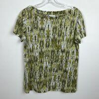 J Jill Love Linen Blouse Size XS Green Chartreuse White Short Sleeve Top Womens