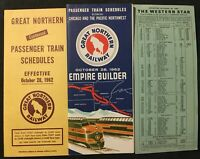 Vintage 6/28 1962 Great Northern Railroad Railway Time Table Empire Empire Build
