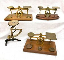 More details for collection job lot of antique postal scales / balance wood & brass