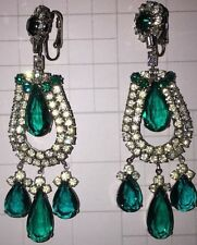 Wedding Green Crystal Clip Earrings Drag Queen Pageant Bridal Sweet 16 Prom Exc!