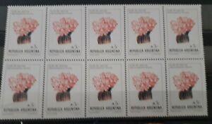 Argentina Cactus Flowers 5.- Block of 10 Mint MNH RF5508