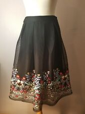 Gianni Bini A line Black Floral Red Blue Yellow Skirt