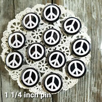 "12 New Black PEACE SIGN Pins 1 1/4"" Pinback Buttons Gift USA Mask Flair Bagged"