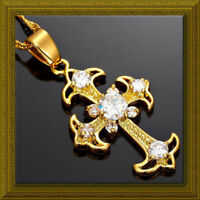 Gold Plate CLEAR CRYSTAL Fleur de Lis CROSS Necklace Gift Pouch April Birthstone