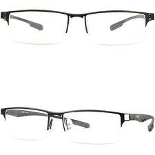 Half Rimless Mens Women Rectangular Titanium Frame RX Glasses Photochromic Black