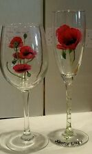 Hand Painted Wine Glass Gift Boxed Poppy Personalised mothers day friend, Family