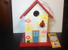 Flowered Ladybug Birdhouse by Home Bazaar All Wood Non Toxic Paint