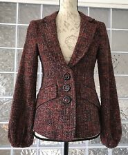 NANETTE LEPORE Boucle Jacket Blazer Large Buttons Pockets Lined Blousy Sleeves 4