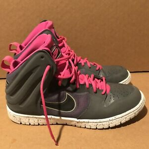 Nike Dunk Free Women's Basketball Shoes 599466-002 Gray and Pink Size 10.5