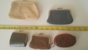 Leather change purses, lot of 5, beige, brown, blue, black, maroon