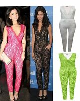 WOMENS CELEBRITY VANESSA HUDGENS NET LACE FLORAL LADIES SLEEVELESS JUMPSUIT 8-14