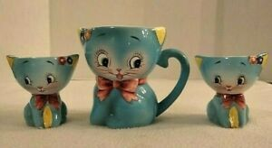 Vintage Norcrest Blue Kitty Small Pitcher #CT-8 + Two Matching Egg Cups