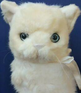 "HTF 1988 Contessa 11"" Plush White Cat /Bravo Applause Sitting Stuffed Cat"