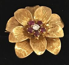 Beautiful Vintage Tiffany & Co. 18K Gold Ruby Diamond Flower Brooch Pin - Italy
