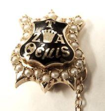 Zeta Tau Alpha Greek Sorority Badge - 10k Yellow Gold  & Seed Pearls Pin