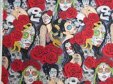 Nocturna Sugar Skull Sexy Girls Roses Brite BY YARDS Alexander Henry Fabric