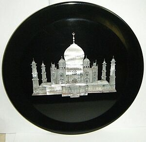 """Decorative 10""""Taj Mahal Plate MOP Shell Fine Inlay in Black Glass and 24K Accent"""