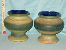 "PAIR OF VINTAGE STREHLA MULI COLOURED POTTERY VASES 5 1/2"" TALL PERFECT CONDITIO"