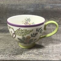 Dutch Wax Mug Coastline Imports Purple Green Yellow Floral Footed Hand Painted