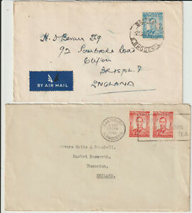 SOUTHERN RHODESIA - PAIR GVI COVERS TO UK - COMMERCIAL