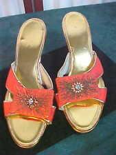 Beautiful Vintage Decorative Beaded Designed Ladies Open Toe Heeled Shoes