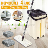 Flat Squeeze Mop Bucket Automatic Spin Hand Free Floor Wringing Cleaning 4
