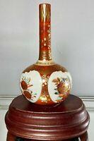 """Antique c1868-1913 Japanese Kutani Bottle Vase Victorian Meiji Period Signed 6"""""""