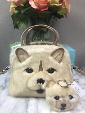 NWT Kate Spade Dog Chow Chow Lottie Faux Fur Satchel Bag Bonus + Key Charm