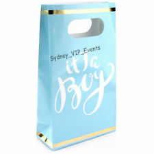 ITS A BOY BABY SHOWER PAPER PARTY BAGS BLUE GOLD WHITE 6PK LOLLY TREAT FAVOURS